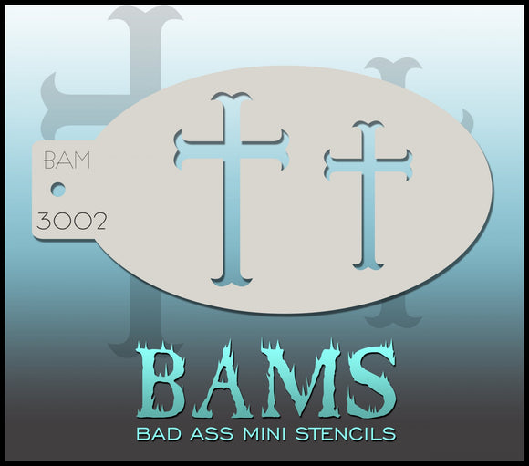 BAM- Bad Ass Mini Face painting Stencils 3002 cross