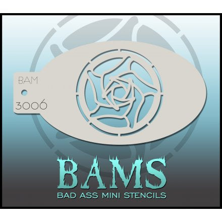 BAM- Bad Ass Mini Face painting Stencils 3006 Rose