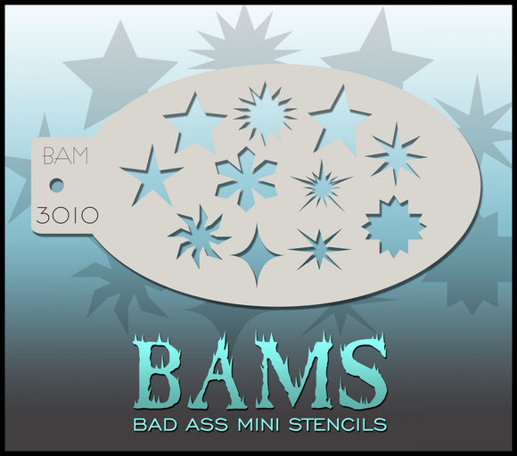 BAM- Bad Ass Mini Face painting Stencils- stars- 3010