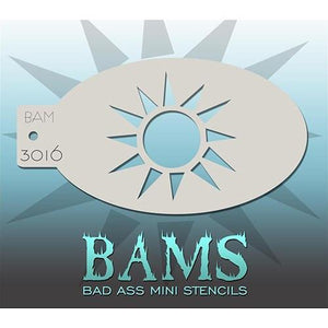 BAM- Bad Ass Mini Face painting Stencils 3016- sun