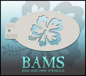 BAM- Bad Ass Mini Face painting Stencils 3020 hibiscus