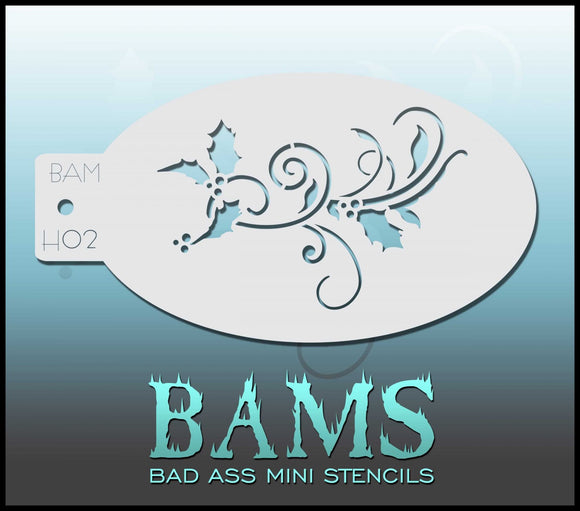 BAM- Bad Ass Mini Face painting Stencils H02- Holly