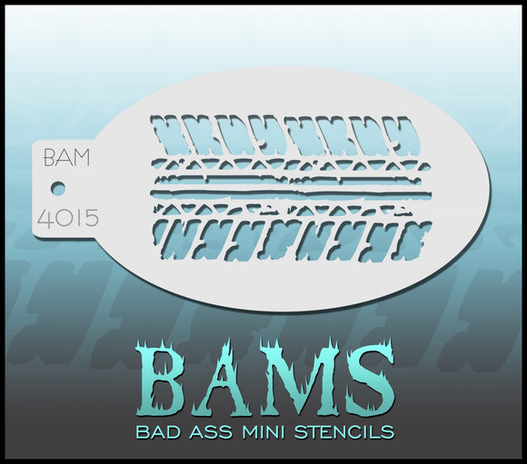 BAM- Bad Ass Mini Face painting Stencils 4015- tyre tracks