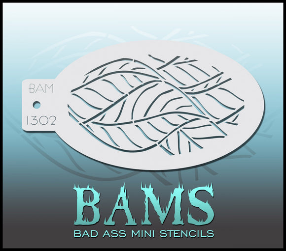 BAM- Bad Ass Mini Face Painting Stencil 1302- leaves