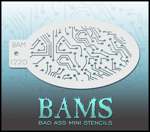 BAM-Bad Ass Mini Face Painting Stencil 1220- circuit board
