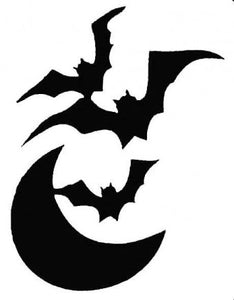 Glitter Tattoo Stencil - Bats and moon