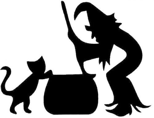 Glitter Tattoo Stencil - Witch, cat and cauldron
