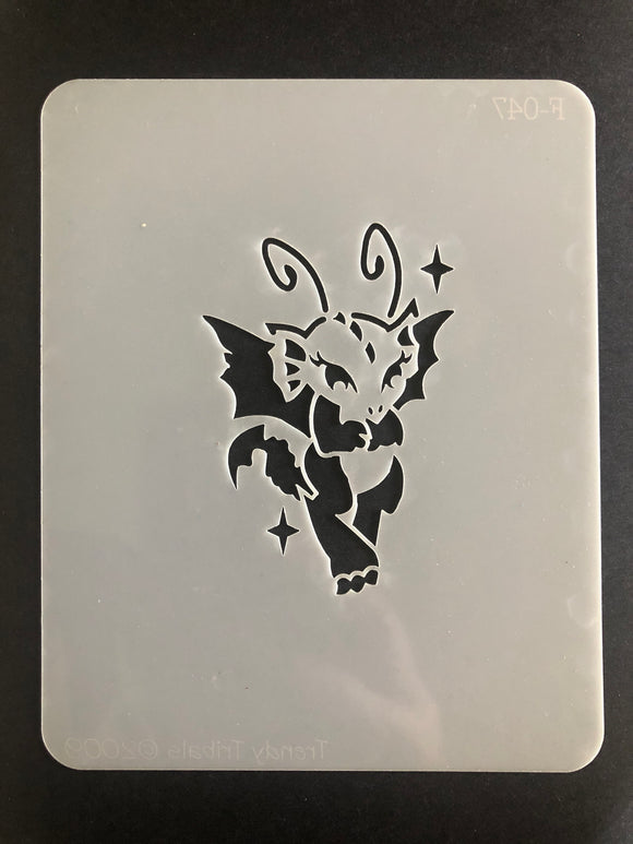 Trendy tribals lil dragon face painting stencil