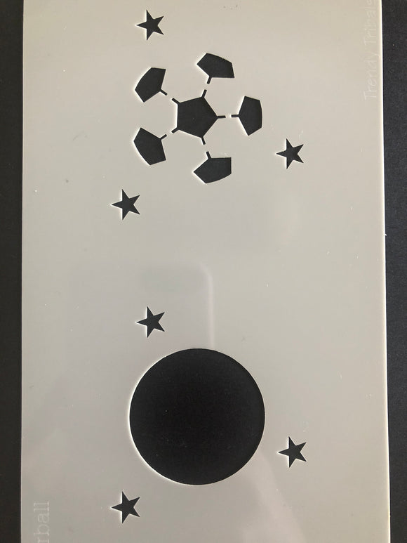 Trendy tribal soccer ball face painting stencil