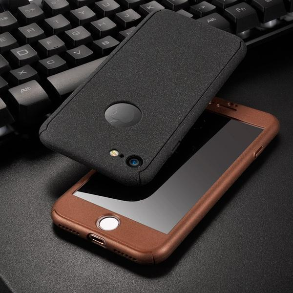 Phone Case - 360 Degree Matte Marble Hard PC Full Body Phone Cases With Tempered Glass Film