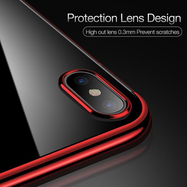 Phone Case - Ultra Thin Transparent Plating Shining Silicon Soft TPU Phone Case For iPhone X 8/7/6S/6 Plus