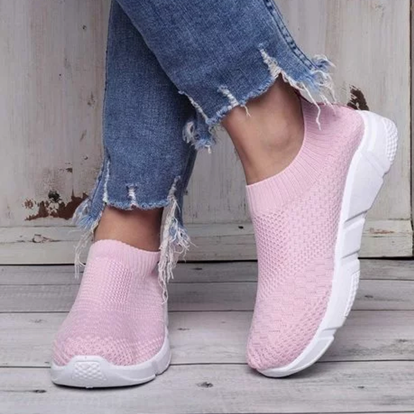 Women Breathable Elastic Cloth Platform Slip On Flats