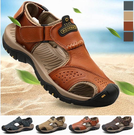 65c5b09bfeee Men s Shoes - Men s Summer Wading Genuine Leather Beach Sandals Hiking –  Kaaum