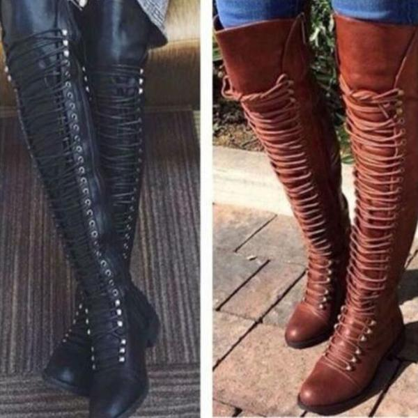 Shoes - Autumn Winter Ladies Sexy Knee High Motor Boots(Buy 2 Got 5% off, 3 Got 10% off Now)
