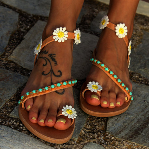 Sandals - 2018 Summer Ladies Handmade Sweet Flower Ankle Strap Flip-flop Flat Sandals