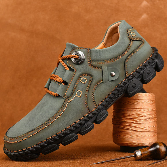 Kaaum 2020 New Autumn Casual Leather Rubber Shoes
