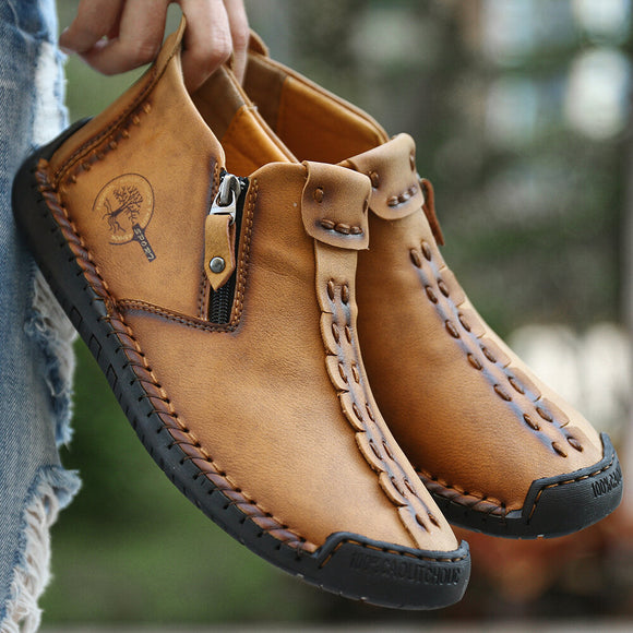 Hand Stitching Leather Non Slip Side Zipper Casual Boots