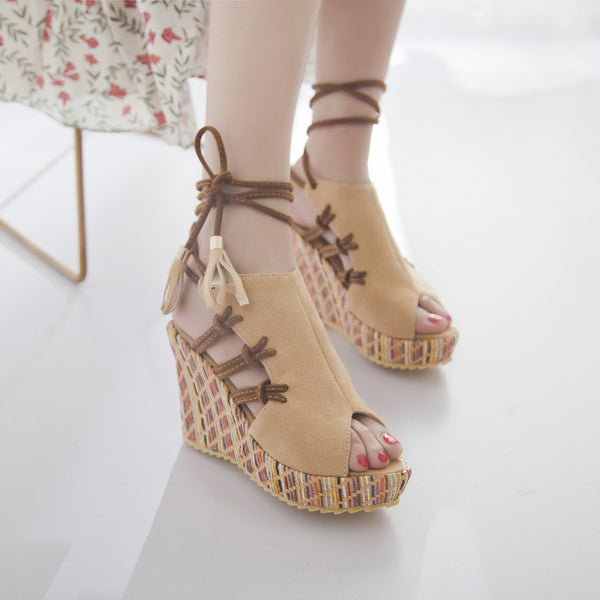 Shoes - 2018 New Fashion Women Pattern Wedges Open Toe Sexy Bandages Sandals