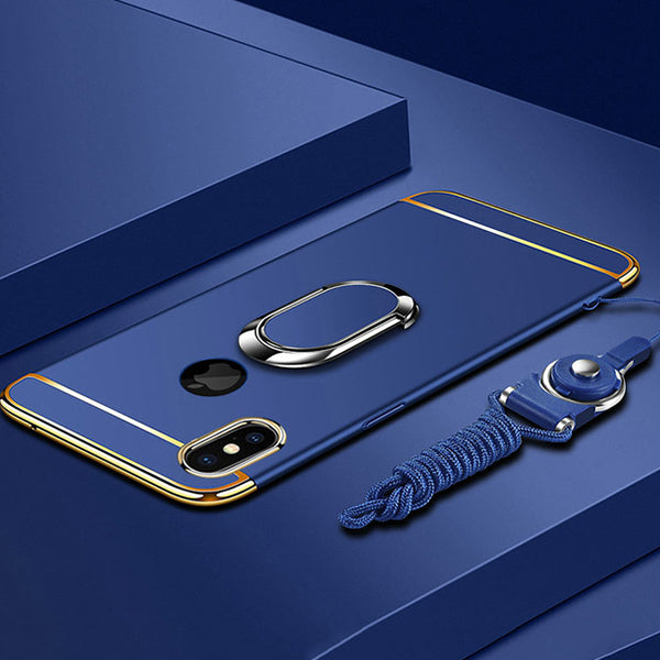 Phone Case - Luxury Ultra Thin 3 IN 1 Plating Magnetic Ring Holder Case For iPhone X/XR/XS/XS Max 8 7 6S 6/Plus With FREE Strap
