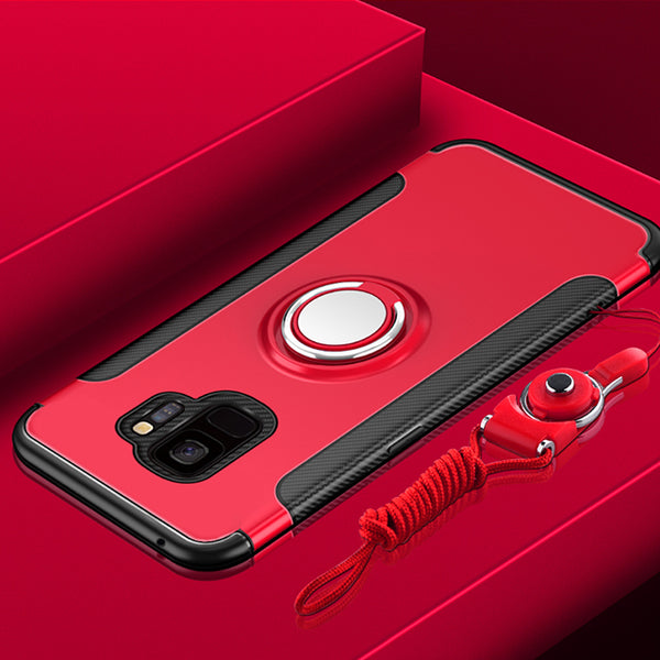 Phone Case - Luxury Ultra Thin Magnetic Ring Holder Case For Samsung Note 9 8 S9 S8/Plus S7 S6/Edge With FREE Strap