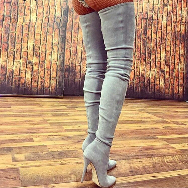 Women's Shoes - Faux Suede Leather Over Knee High Boots