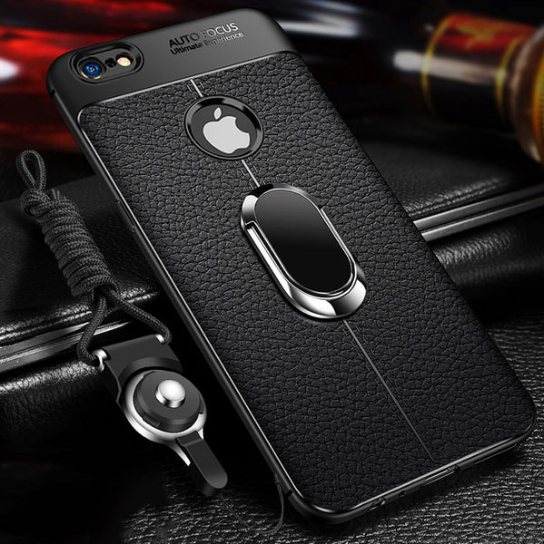 Phone Case - Luxury Litchi Silicone Magnetic Car Holder Case For iPhone X/XR/XS/XS Max 8 7 6S 6/Plus With FREE Strap