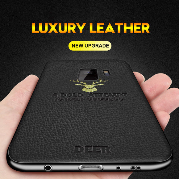 Luxury Litchi Leather Silicone Deer Pattern Case For Samsung Note 9 8 S9 S8/Plus S7 S7Edge