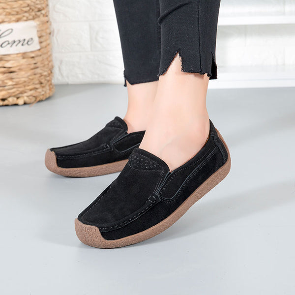 2019 Women Casual Comfortable Flat Non-slip Suede Snail Shoes