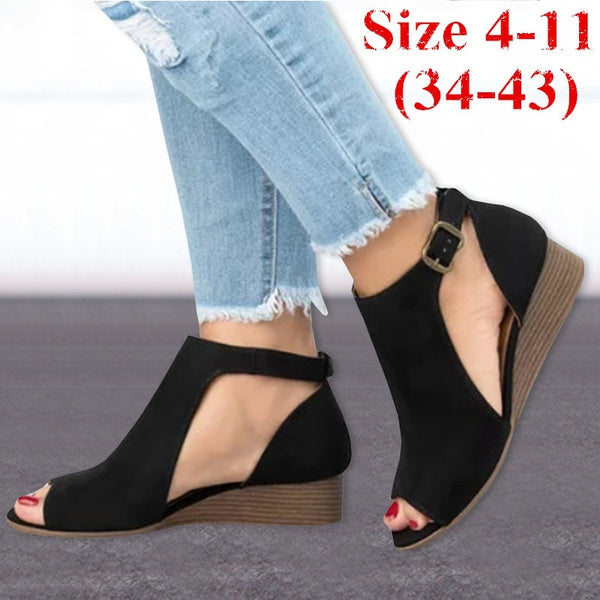 Shoes - Women's Peep Toe Chunky Shoes