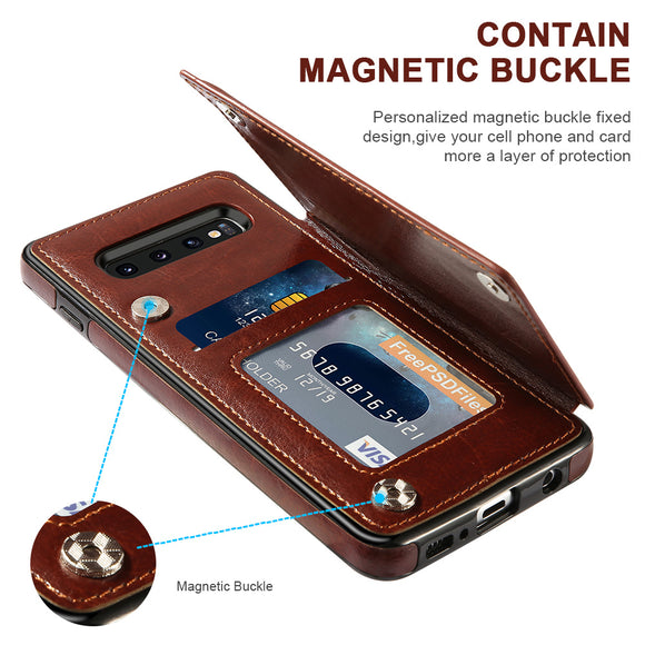 Kaaum Luxury Retro Leather Card Slot Holder Cover Case For Samsung Note 20 S20 S20Plus