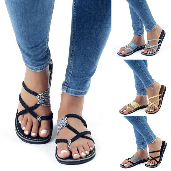 Spring Summer Breathable Bandage Flat Sandal Slipper