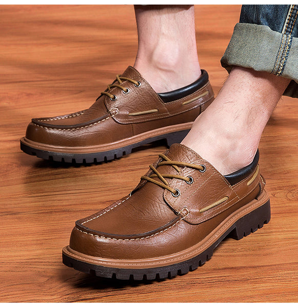 Shoes - Genuine Leather Punk Style Men's Casual Oxford Shoes