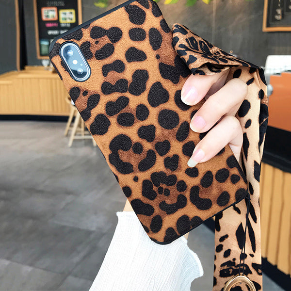 2019 Sexy Leopard with lanyard flip fur Case for iPhone X XR XS Max 7 8 Plus