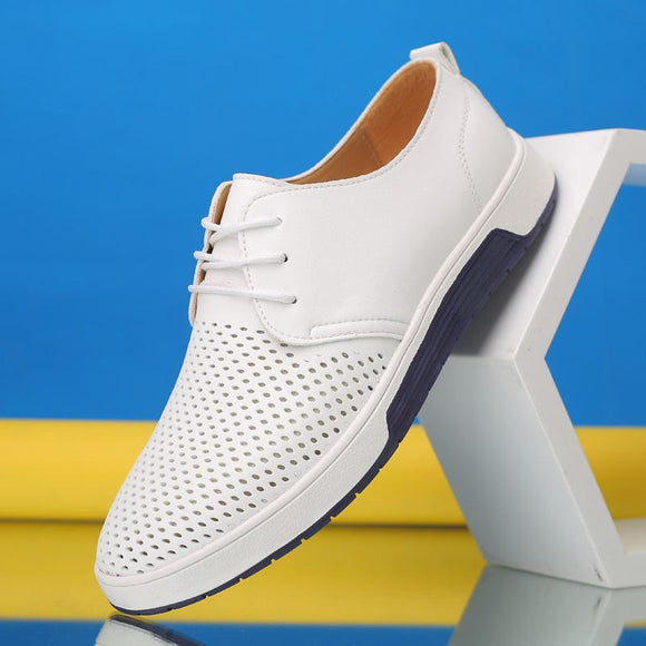 Kaaum Summer Leather Casual Fashion Breathable Holes Leisure Shoes(Buy More For Extra Discount)