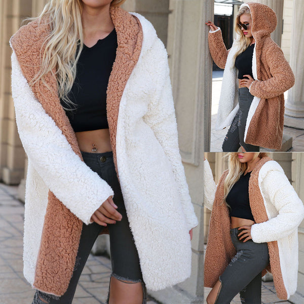 Women's Clothing - Fashion Women's Open Stitch Hooded Plush Jacket