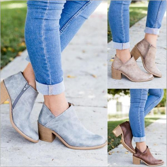 Shoes - Women Autumn Vintage Chunky Ankle Boots