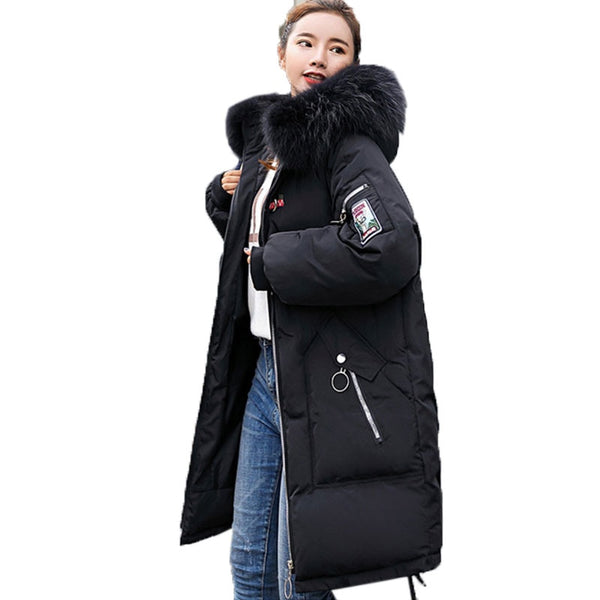 Embroidery Thick Long Down Parkas Hooded Winter Coat For Ladies