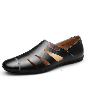 Kaaum Breathable Leather Sandal Men Loafer Shoes