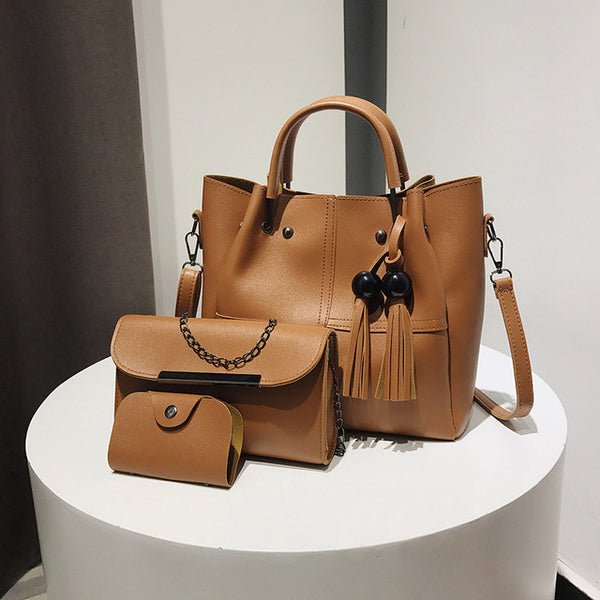 Women's Bags - New Brand Tassel Women Set 3 Pcs PU Leather Handbags