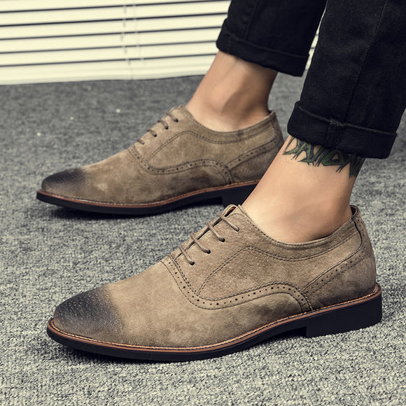Men's Shoes - Faux Suede Casual Classic Lace Up Shoes