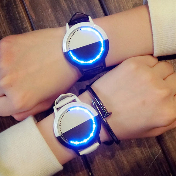Simple Waterproof LED Round Lovers Smart Quartz Watches