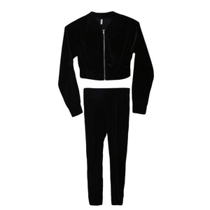Women's Clothing - Fashion Velvet Tracksuit Smooth Soft Suit