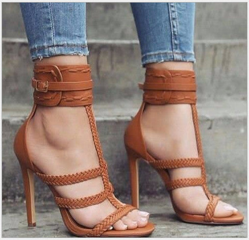 9dcd1aac6d48f7 Women s Shoes - Fashion Summer Sexy Gladiator Bandage Cross Tied Thin High  Heels Sandals