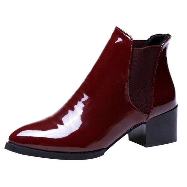 Women's Shoes - 2019 Elasticated Patent Leather Ankle Boots For Ladies