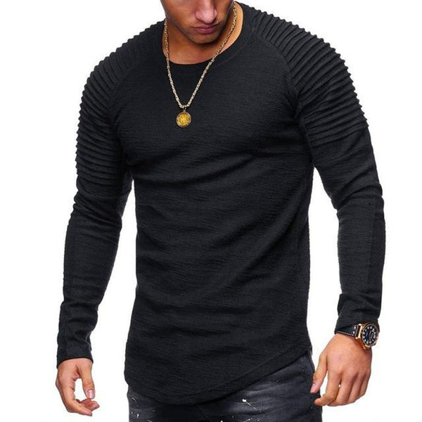 Men's Clothing - 2018 New Fashion Men's Striped Fold Raglan Long-sleeved T-shirt