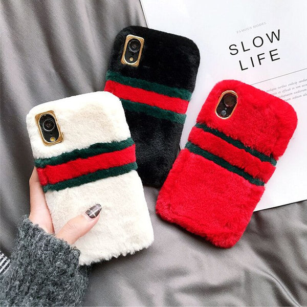 Phone Accessories - Creative Patchwork Stripped Color Fur Phone Case For iPhone Series