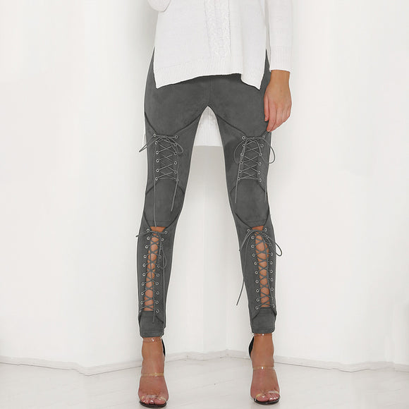 2018 New Suede Leather Sexy Bandage Legging Lace-Up Women's Pants(Buy 2 Got 5% off, 3 Got 10% off Now)