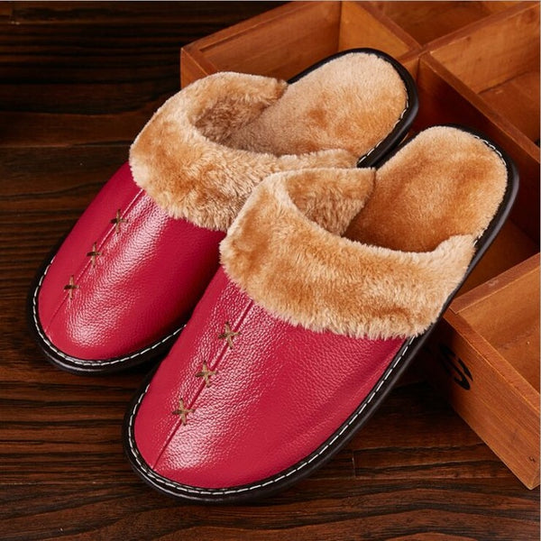 Unisex Warm Genuine Leather Slippers