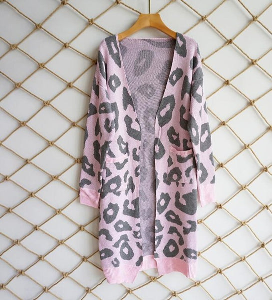 27ebc5ad7e0 2018 Leopard Print Women Loose Cardigan Sweater