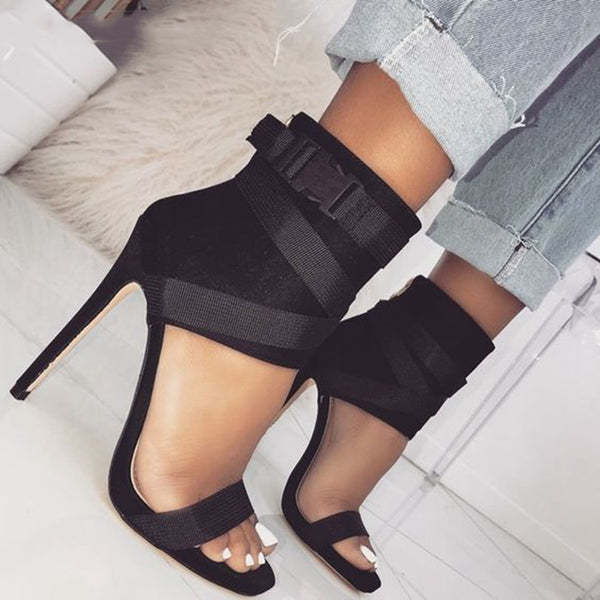 Fashion Fabric Belt Rome Gladiator Peep-toe Patchwork Stilettos High Heels
